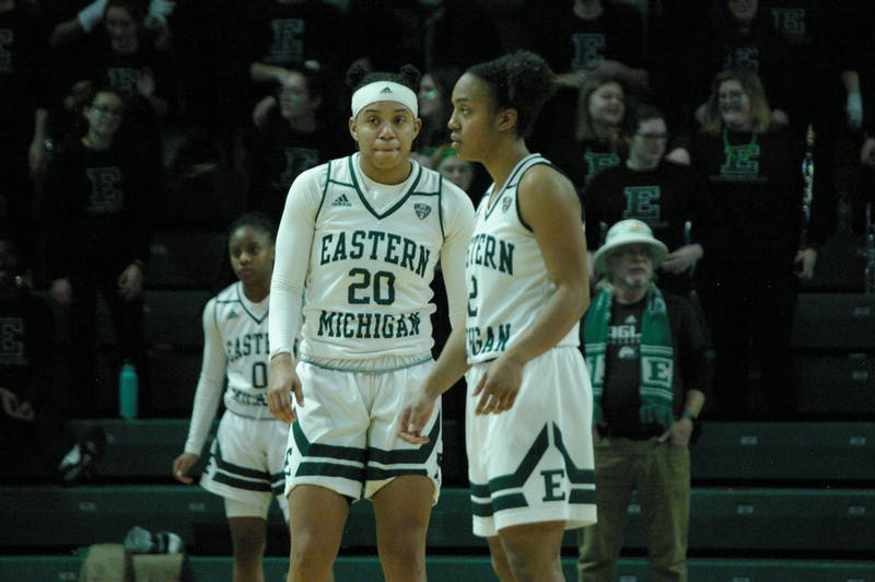 Corrione Cardwell and Juanita Agosto wait during an inbounds at the Convocation Center on Jan. 22.