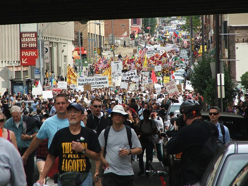 Several thousand people marched peacefully across Pittsburgh in protest of the G-20 Summit.