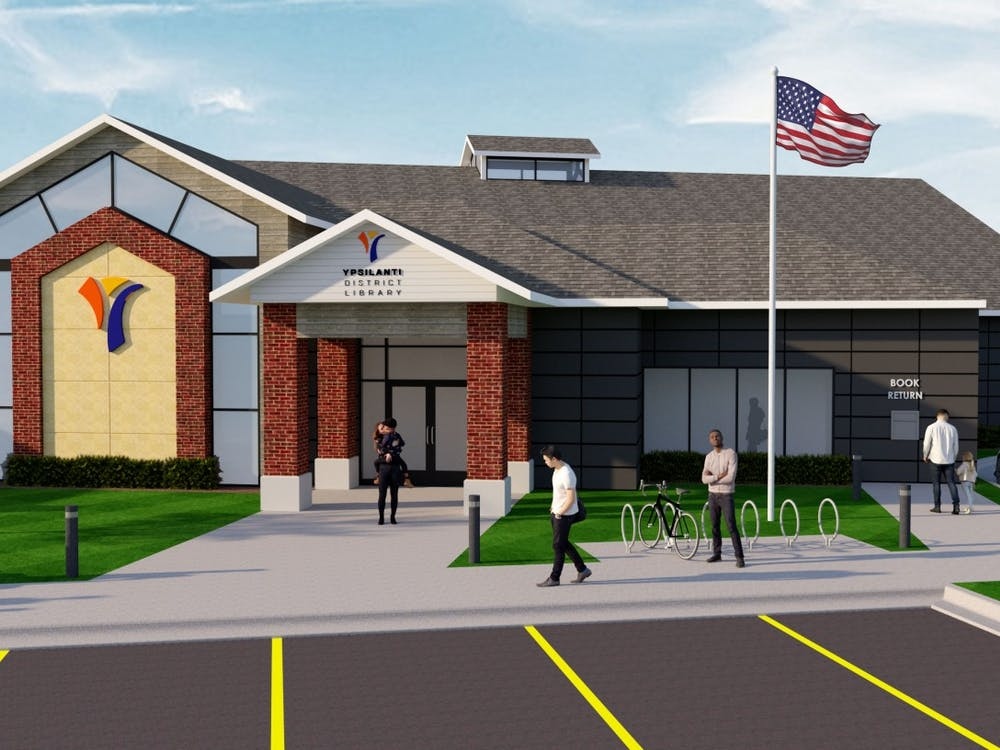 A finalrendering of what the future Ypsilanti District Library will look like from the front view (Photo Credit of architect Dan Whisler of Daniels and Zermack Architects).