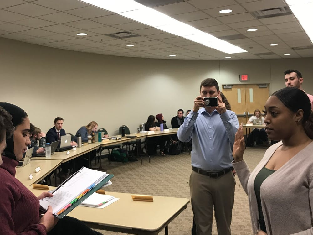 Black Student Union (BSU) secretary, Kiera Osborne, is sworn in as the BSU delegate to EMU's student government, Jan. 21, 2019.