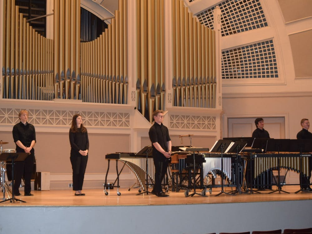 EMU's Percussion Ensemble entertains audience in Pease Auditorium