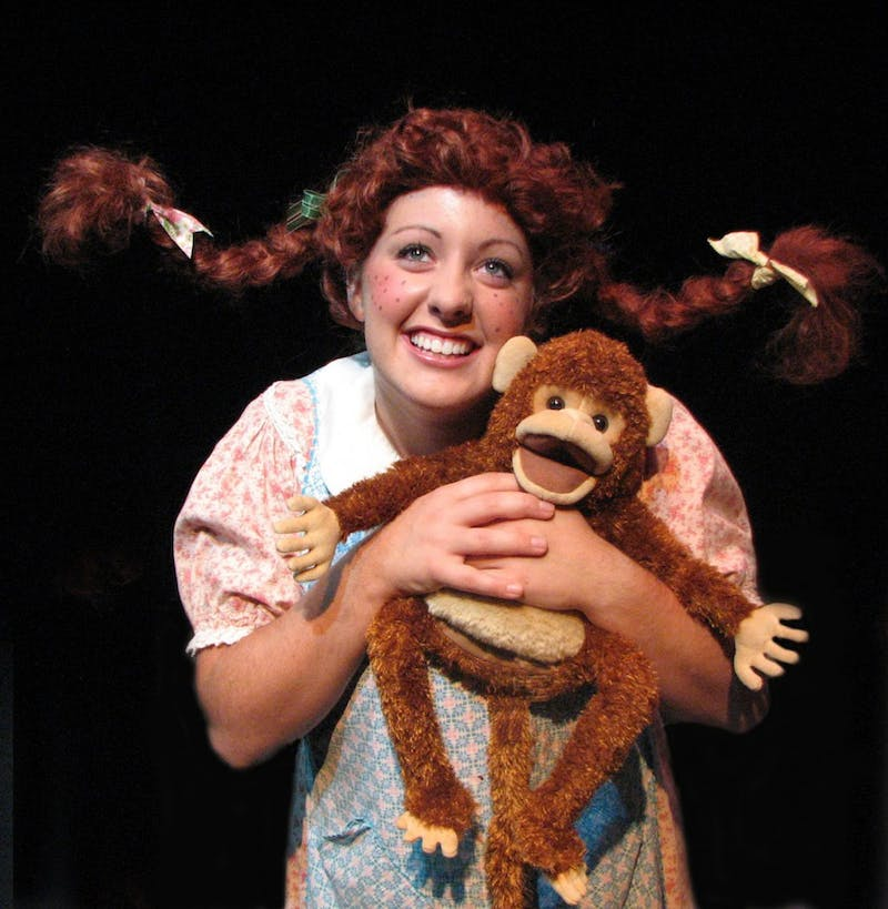 Krissi Hardy plays Pippilotta Delicatessa Windowshade Mackrelmint Ephraim's Daughter Longstocking in EMU Theatre's musical production of the classic children's tale.