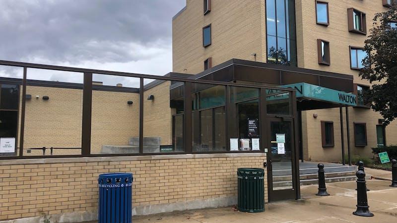 Recycling bins outside Walton Hall on EMU's campus. (Photo courtesy of Maddie Dollard)