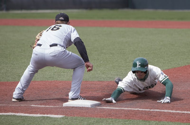 The Eagles beat the Broncos 9-5 Saturday at Oestrike Stadium. EMU's next game is Tuesday.