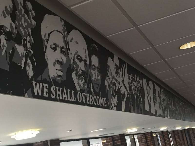 Portion of the unity mural in EMU's McKenny Hall student lounge.