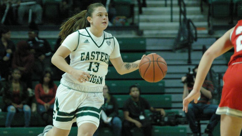 EMU guard Jenna Annecchiarico brings the ball up the court at the Convocation Center on Nov. 8.