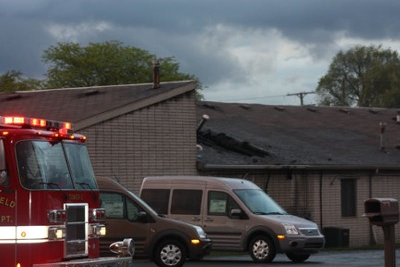 Fire damage to the roof of the Washtenaw Office Plaza in Ypsilanti.