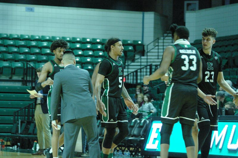 Noah Morgan and team come off the court at the Convocation Center on Jan. 18.
