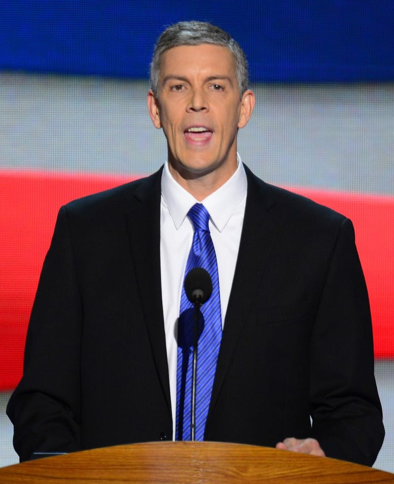 Secretary of Education Arne Duncan speaks to the delegates on the second night of the 2012 Democratic National Convention at Time Warner Cable Arena, Wednesday, September 5, 2012 in Charlotte, North Carolina. (Harry E. Walker/MCT)