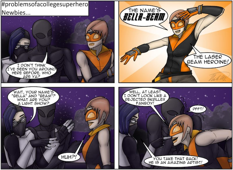 Bella-Beam is new to the hero world, but E-Mo is not a complete fan of her just yet.
