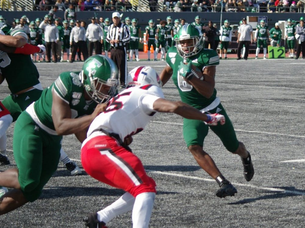 EMU receiver Jairus Grissom runs to endzone at Rynearson Stadium on Oct. 12.