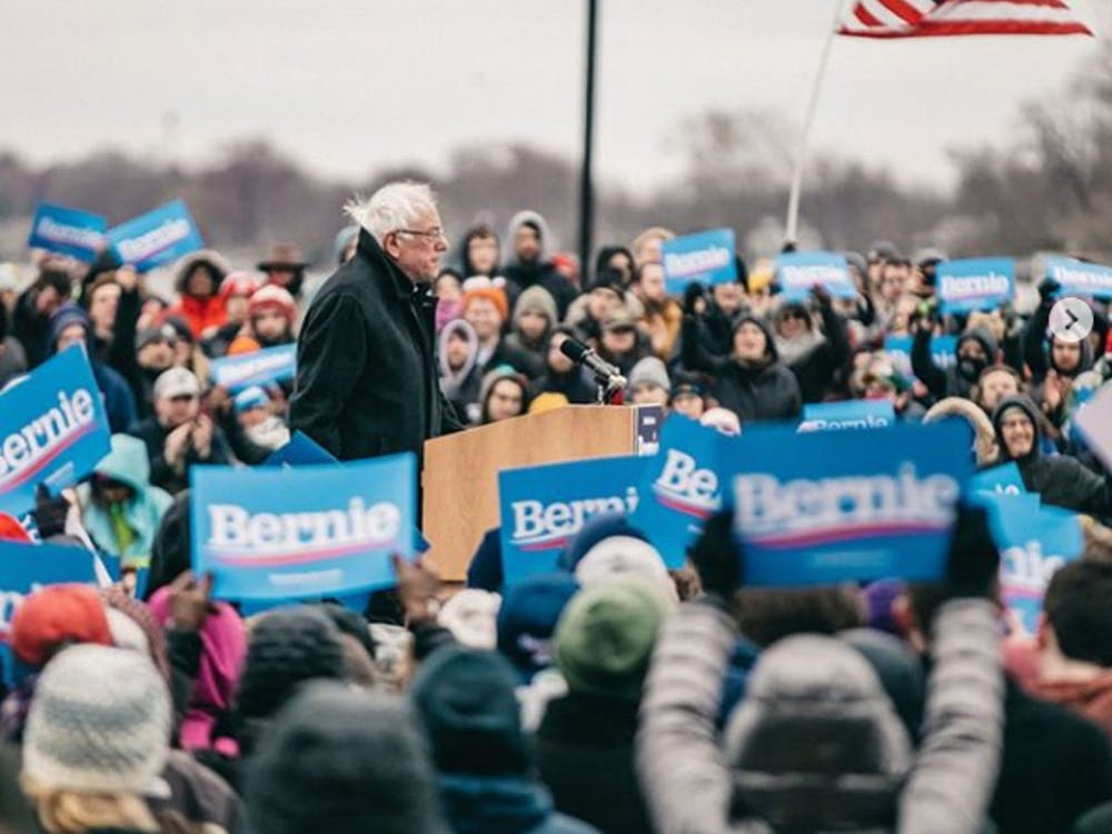 @berniesanders on Instagram | Sen. Bernie Sanders at a Campaign Rally in Madison, WI in early April.