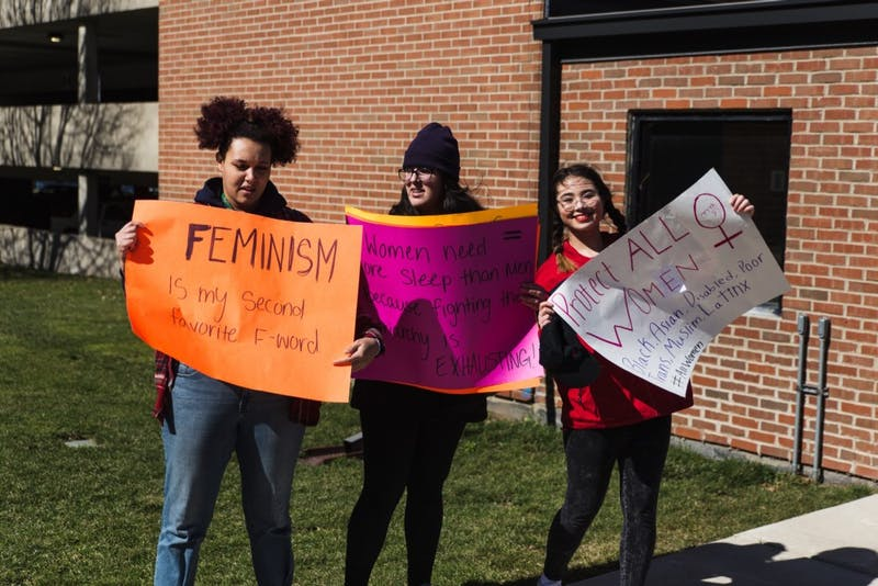 Students demonstrating on EMU's campuson International Women's Day, March 8.