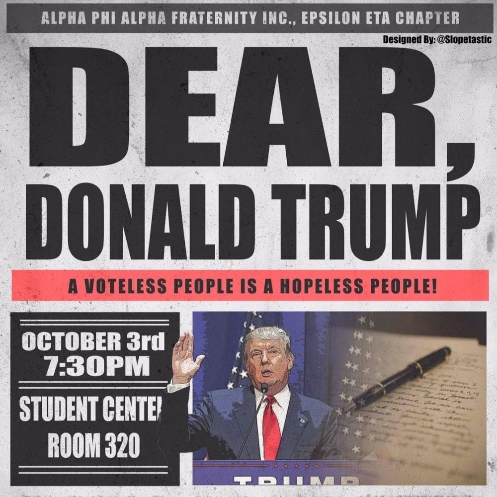 """Dear Donald Trump"" hosted by Alpha Phi Alpha Fraternity Incorporated"