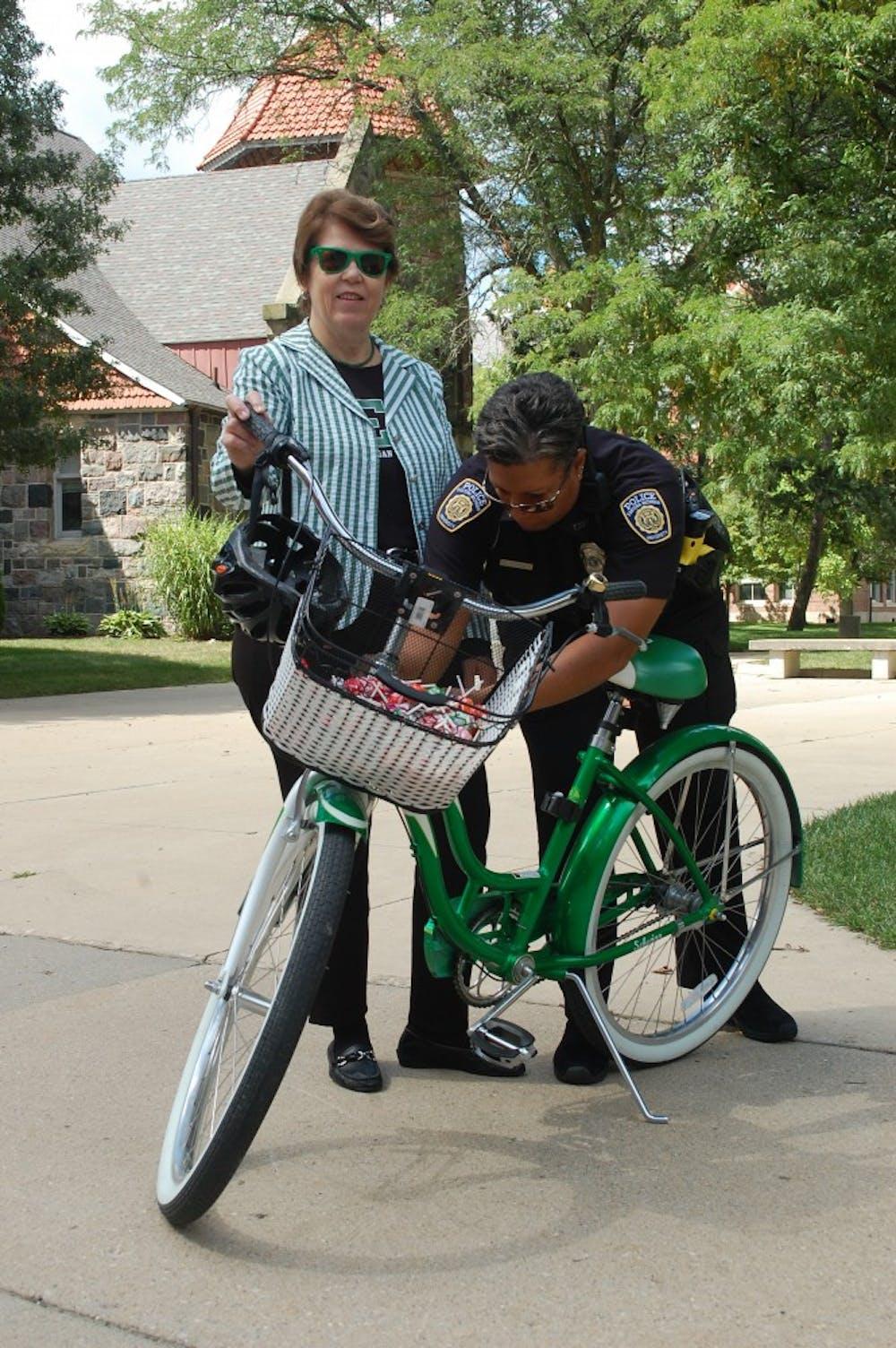 Susan Martin promotes campus bike tagging program