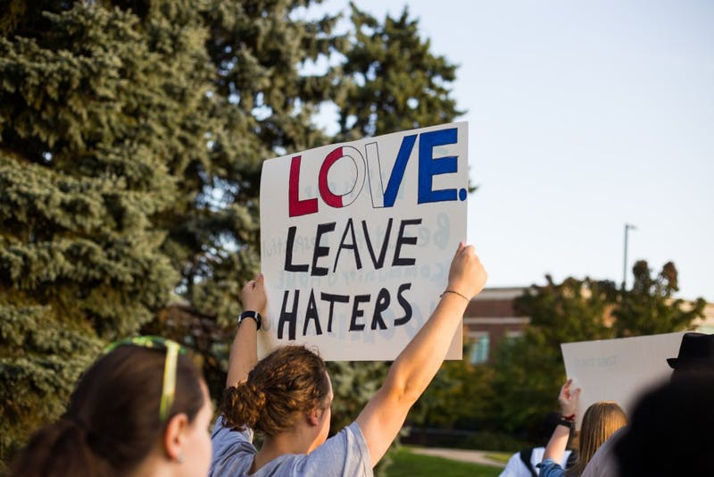 A group of Eastern Michigan University students, alumni, faculty, and administration rallied and marched three weeks following the two incidents of racist hate speech found on EMU's campus, Thursday, Oct 6.