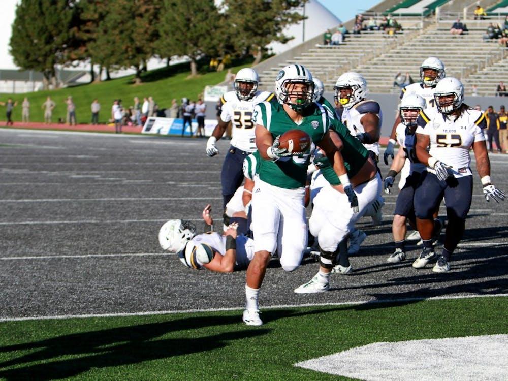 Breck Turner scores a touchdown against Toledo at Rynearson Stadium on Oct. 8.