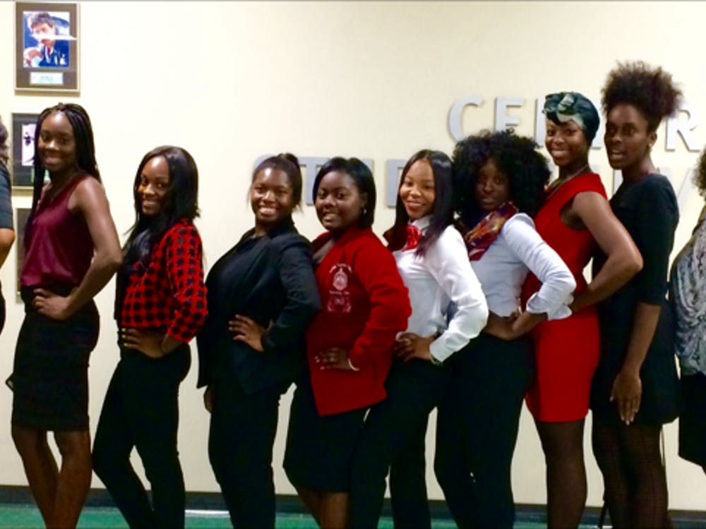 Members of EMU'sDelta Sigma Theta, Inc. sorority at the Peace of Mind lecture on mental health on Thursday, Sept. 15.