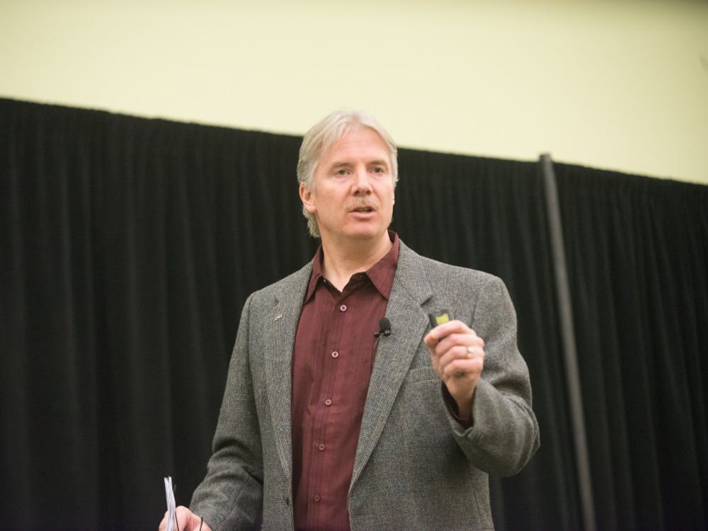 Marty Raymond, a professor at the School of Nursing at Eastern Michigan University, discussed the connection between poverty and health on Tuesday for the Honors College's star lecture series on poverty.