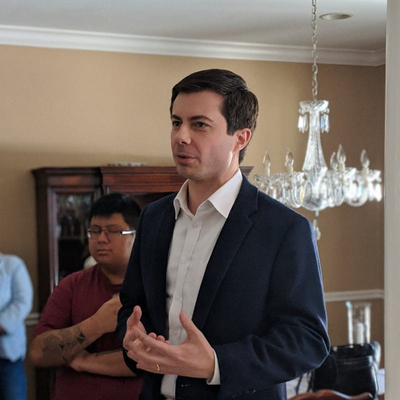 Marc Nozell on Flickr | Pete Buttigieg talks to voters on the campaign trail.