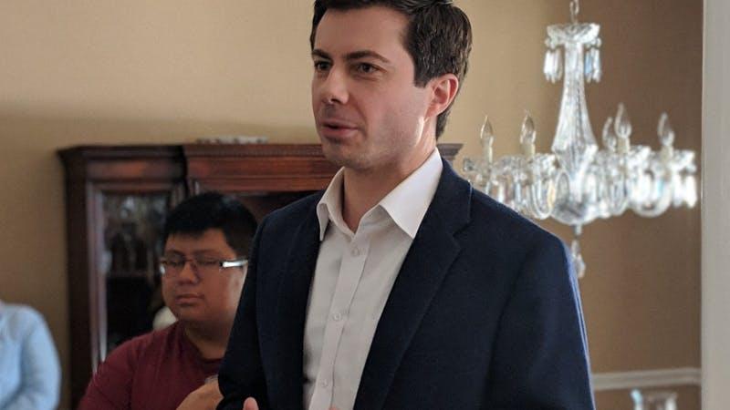 Marc Nozell on Flickr   Pete Buttigieg talks to voters on the campaign trail.