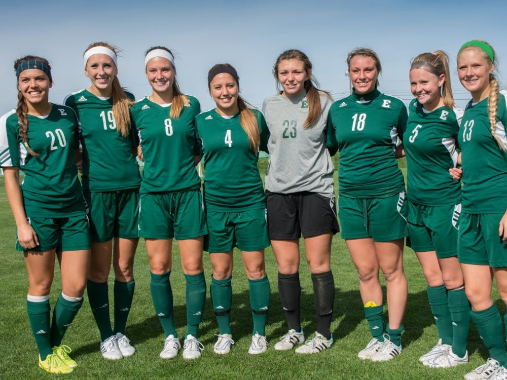 EMU soccer seniors during halftime at the EMU vs. Ohio University game on October 19th, 2014 at Scicluna Field.