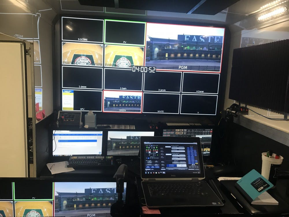 A look inside the ESPN production truck before the game against Toledo on March 6 at the Convocation Center.