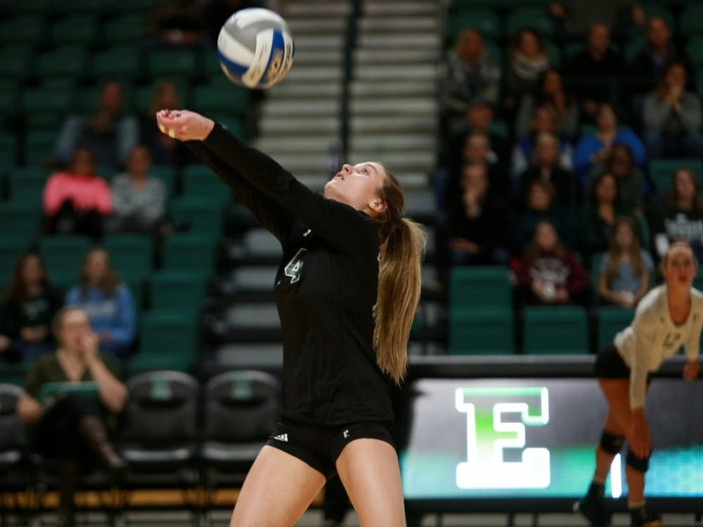 Alyssa LaFace bumps the ball against Western Michigan at the Convocation Center.