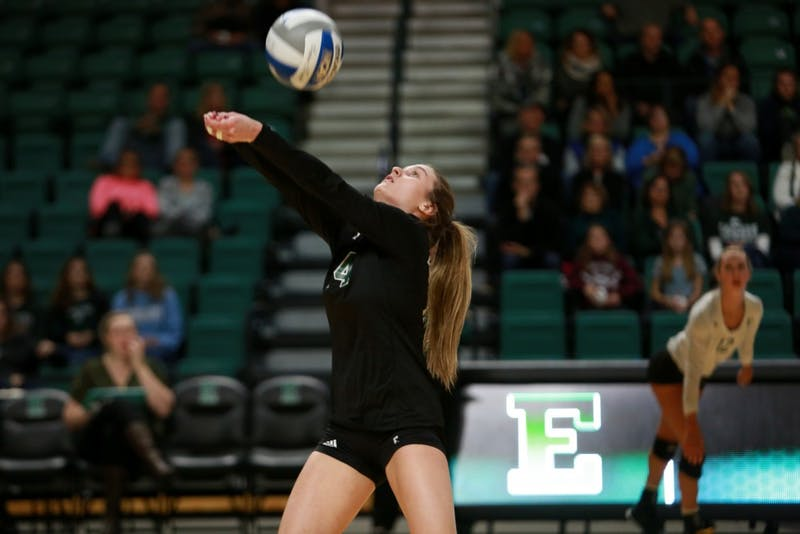 Alyssa LaFace bumps the ball during the game against Western Michigan at the Convocation Center.
