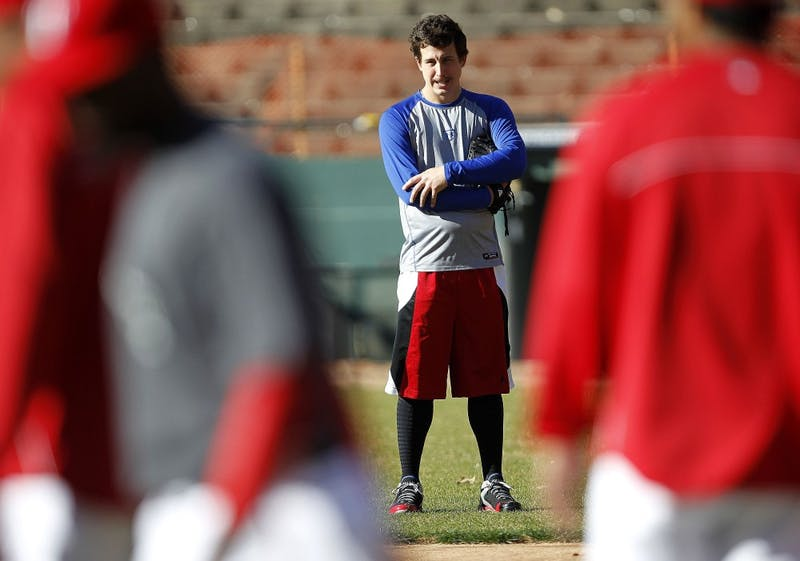 Texas Rangers starting pitcher Derek Holland on the infield during a pitchers' mini-camp at Rangers Ballpark in Arlington, Texas, on Friday, January 18, 2013. (Ron Jenkins/Fort Worth Star-Telegram/MCT)
