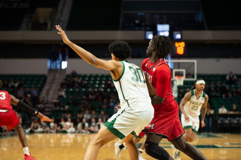 Jalen King posts up against Miami (OH) on Feb. 2 at the Convocation Center.