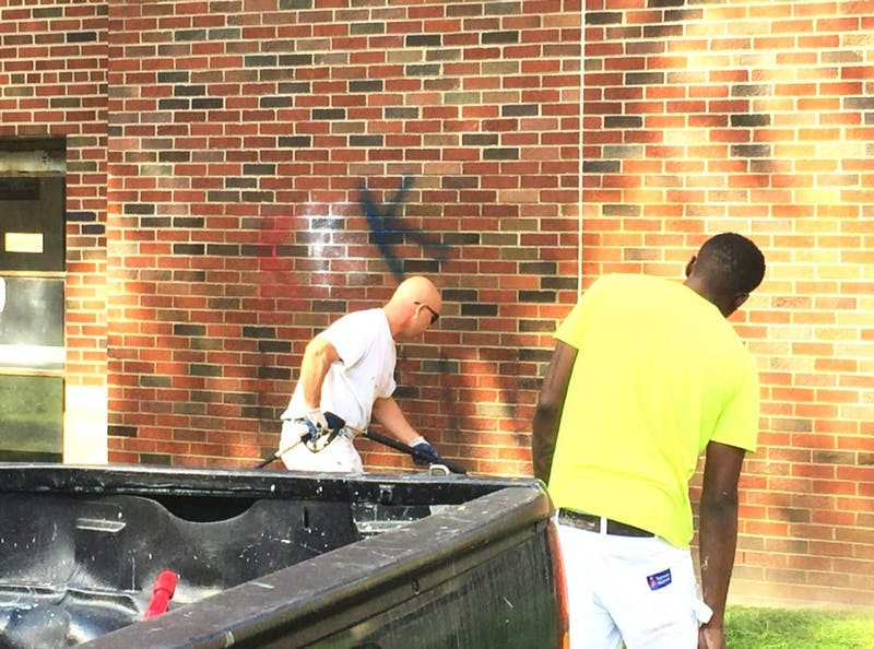 On Tuesday Sept. 20, around 9 a.m. graffiti was found on the outer wall of EMU's King Hall depicting hate speech. Picture taken after some writing was removed.