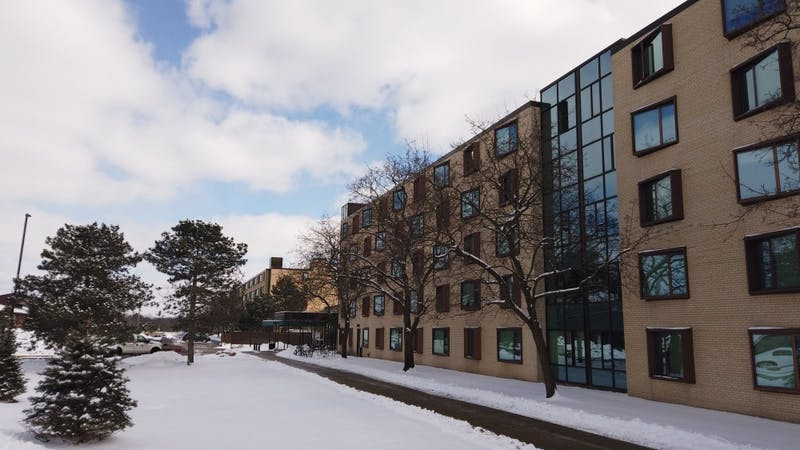 The outside of the Phelps and Walton Hall on Feb. 20. Residents in Walton Residence Hall were found in possession of drug paraphernalia on Sunday, Feb. 17.