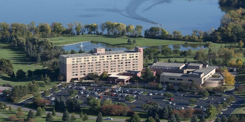 Eastern Michigan University plans to sell the Corporate Education Center located at 1275 South Huron Street. EMU owns the building adjacent to the Marriott hotel. Photo courtesy of Eagle Crest Resort.