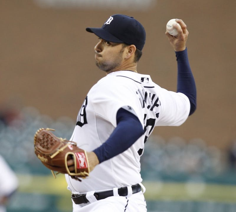 Detroit Tigers Anibal Sanchez pitches in the first inning against the Kansas City Royals in Detroit, Michigan on Tuesday, September 25, 2012. (Julian H. Gonzalez/Detroit Free Press/MCT)
