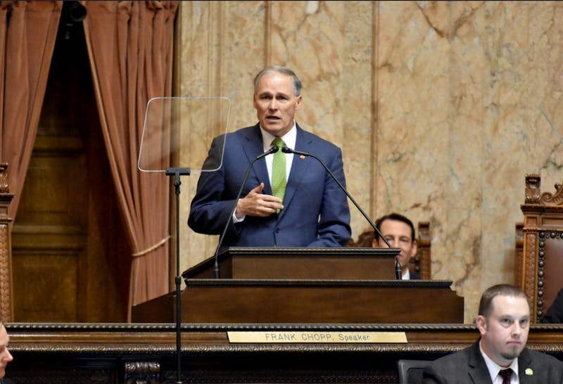 Gov. Jay Inslee delivered his 2019 State of the State address to a joint session of the Washington State Senate and House of Representatives. | Photo by Governor Jay & Trudi Inslee on Flickr.