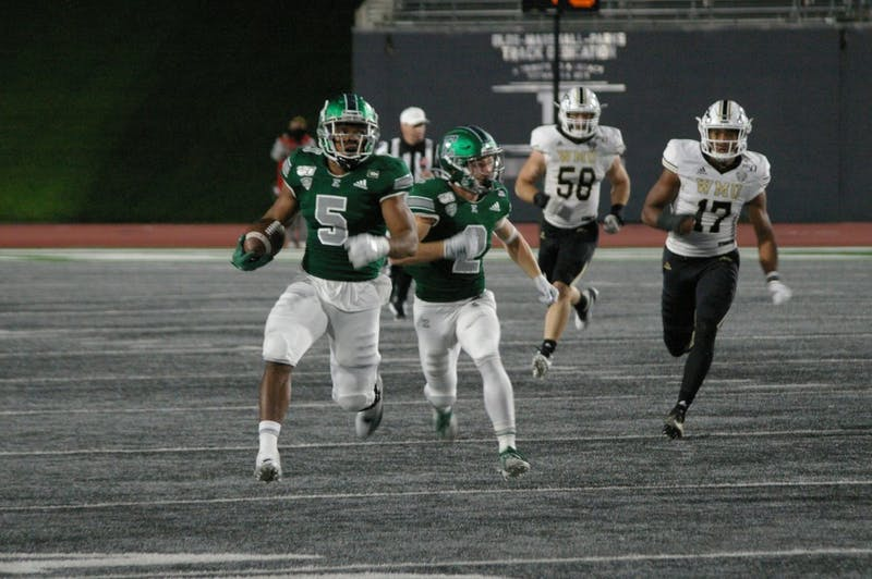 EMU running back Shaq Vann breaks off a run at Rynearson Stadium on Oct. 19.