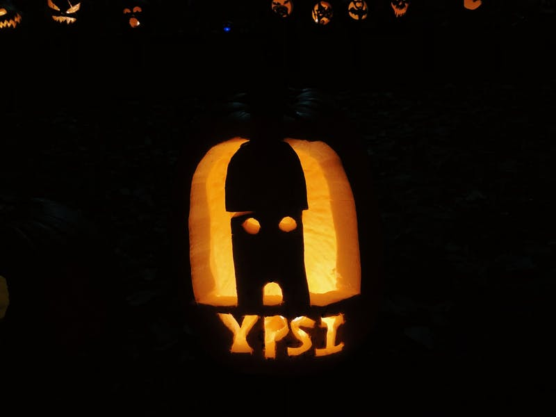 Just one of the hundreds of pumpkins brought out to Frog Island Park -- this one featuring the iconic Ypsilanti water tower.