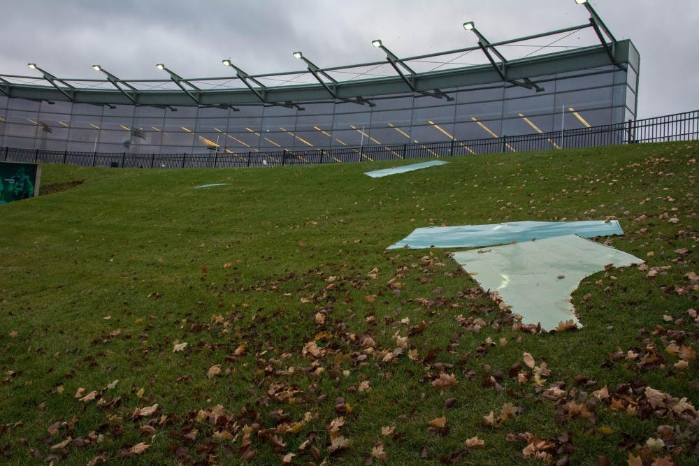 Strong winds damage Convocation Center awning