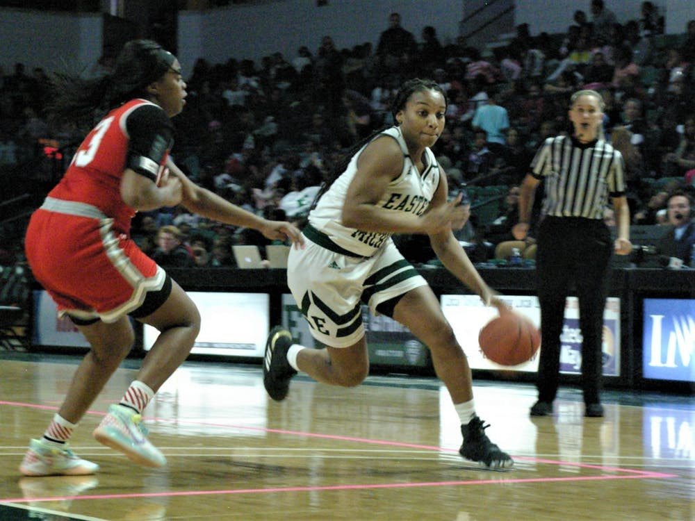 EMU guard Courtnie Lewis drives to the hoop at the Convocation Center on Nov. 8.