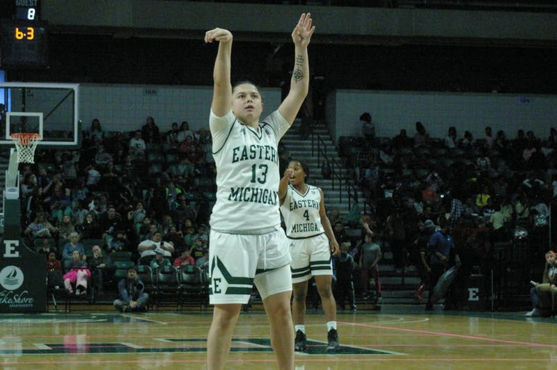 EMU guard Jenna Annecchiarico shoots a free throw at the Convocation Center on Nov. 8.