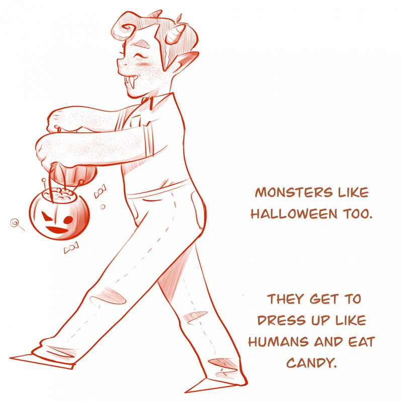 Monsters are just like humans: they love to dress up and eat candy!