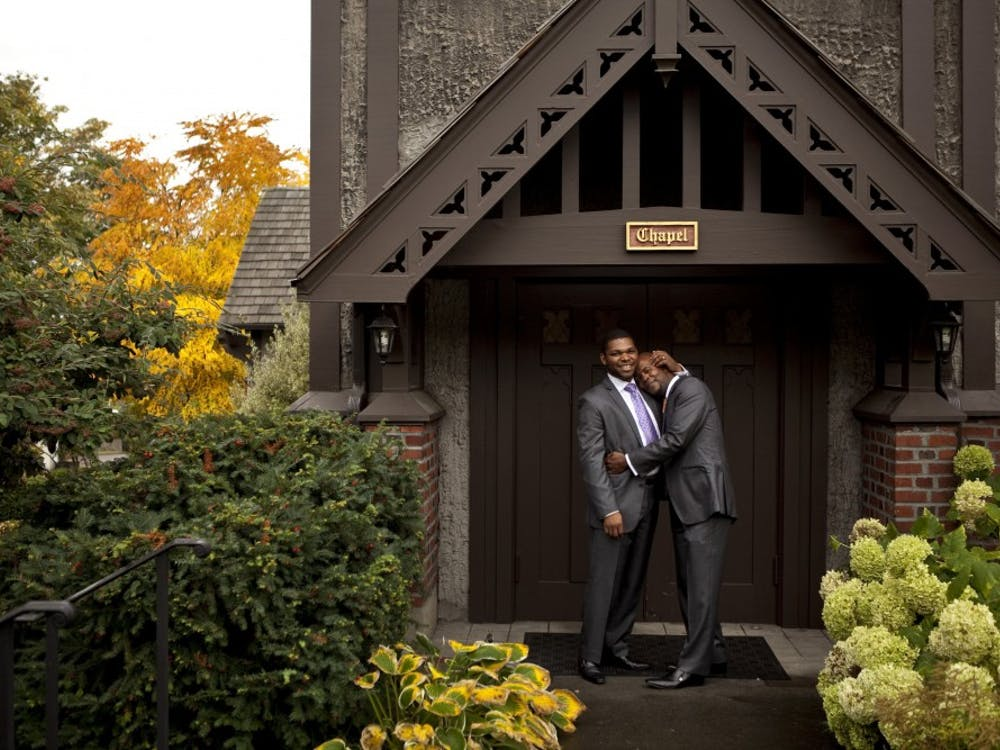 Darrell, left, and Marshan Goodwin-Moultry, pastors at Liberation United Church of Christ in Seattle, Washington, are a couple. They hope they are role models for other black gays. (Bettina Hansen/Seattle Times/MCT)