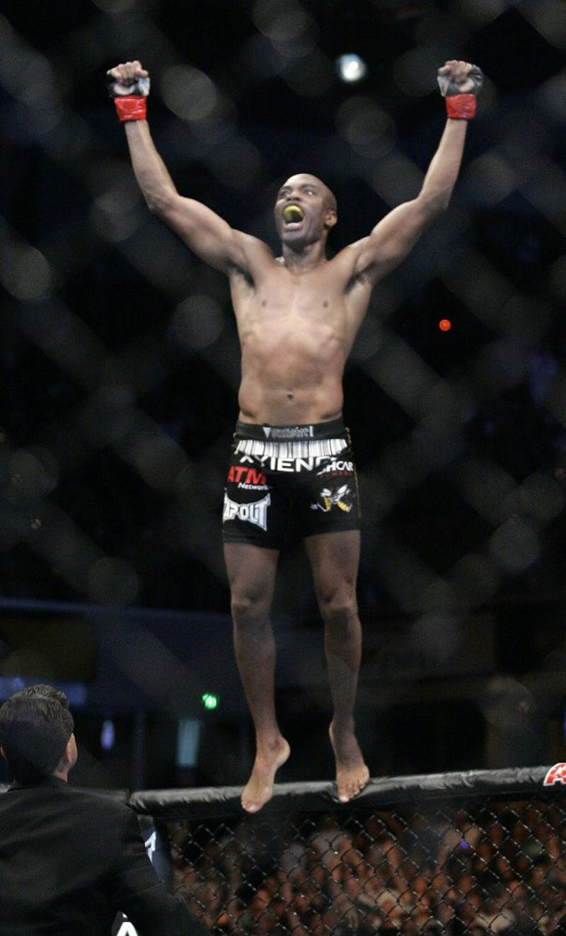 Anderson Silva celebrates his win over Nate Marquardt during UFC 73 at the Arco Arena in Sacramento, California, Saturday, July 7, 2007. (Francis Specker/Landov/MCT)