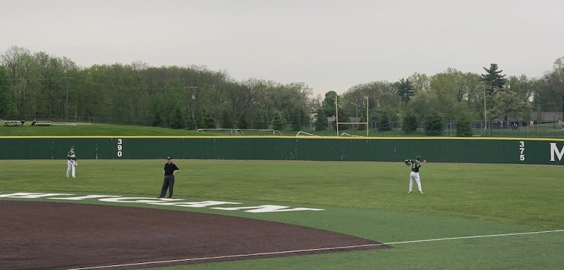 Drake Peggs throws the ball in the outfield on May 17 at Oestrike Stadium.