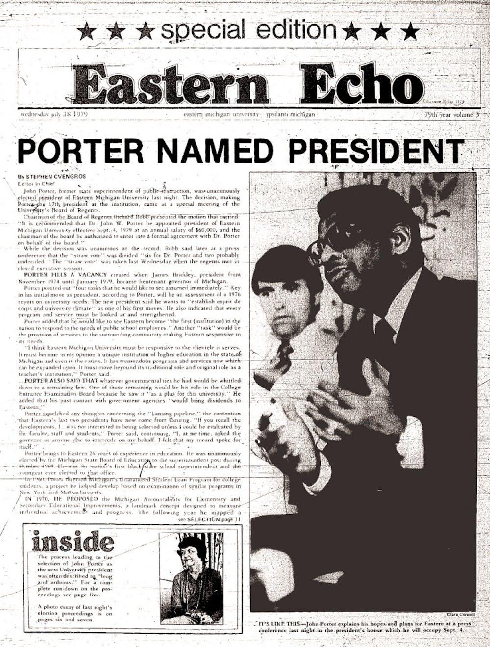 Former EMU President John W. Porter dies at age 80