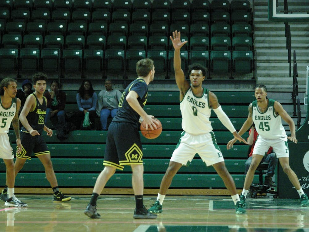 EMU guard Yeikson Montero plays defense at the Convocation Center on Nov. 14.