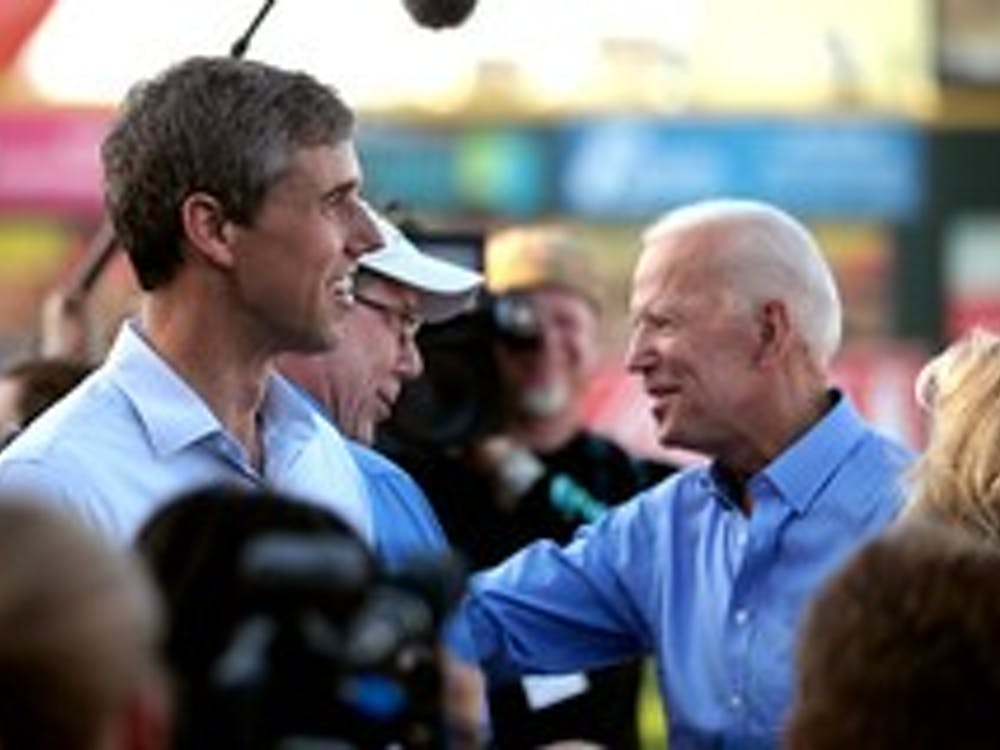Former Vice President Joe Biden and Former Rep. Beto O'Rourke campaigning at a Chicago Cubs baseball game in Iowa.  Photo by Gage Skidmore on Flickr https://www.flickr.com/photos/gageskidmore/48252524777/in/album-72157709565017041/