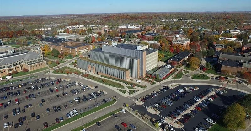Eastern Michigan University | An aerial view of the southwestern corner of Eastern Michigan University's campus.