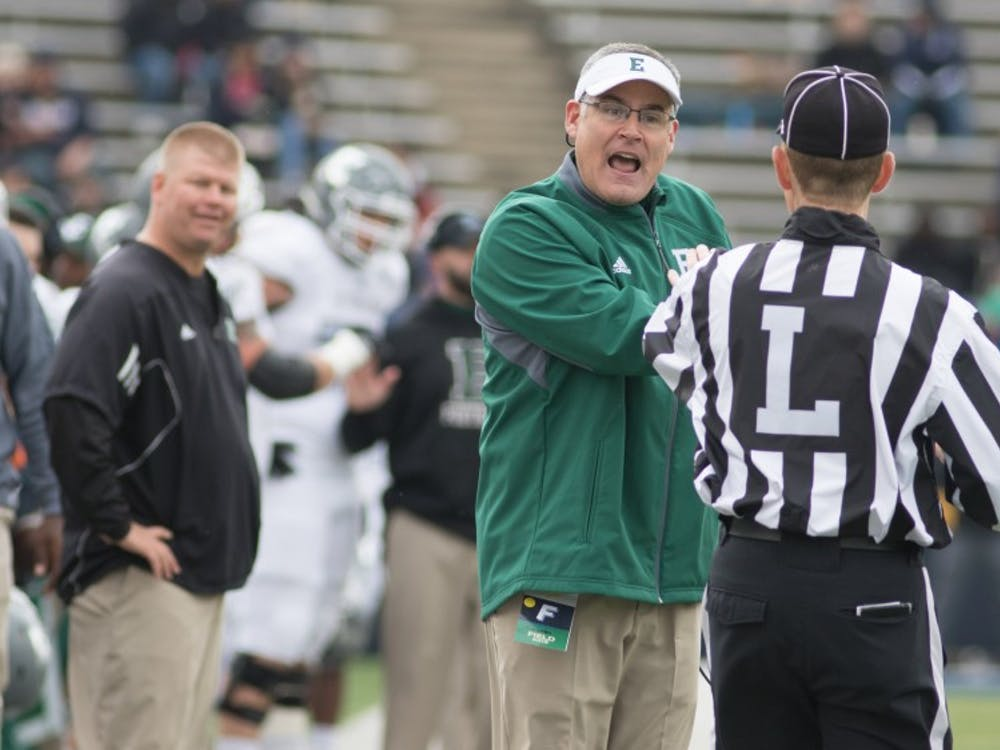 Eastern Michigan coach Chris Creighton reacts after a call in the Eagles 63-20 loss to Toledo on Oct. 17 2015 in the Glass Bowl.